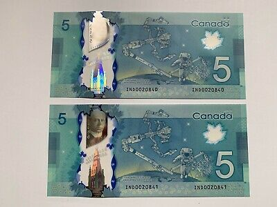 Bank of Canada $5 2013 IND0020840-41 Wilkins/Poloz UNC