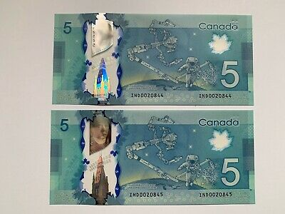 Bank of Canada $5 2013 IND0020844-45 Wilkins/Poloz UNC