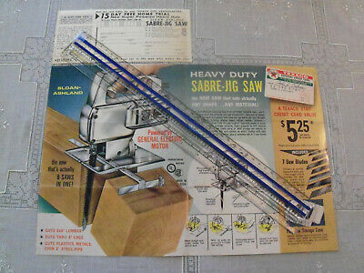 Texaco 6 Panel Color Ad for Sloan-Ashland Sabre-Jig Saw With Response Card 1965