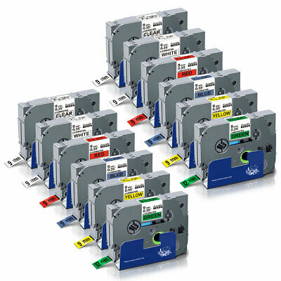 "12PK Label Tapes TZe121-TZe721 9mm 0.35"" Compatible Brother p-touch PT-H100 P700"