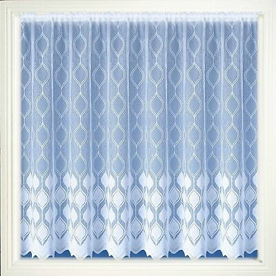 MODERN WHITE NET CURTAIN TWO DROPS SOLD BY METERS DANDELION DESIGN