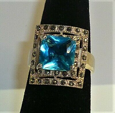 Vintage 925 Deco Sterling Silver Marcasite Cocktail Ring Size 7.5
