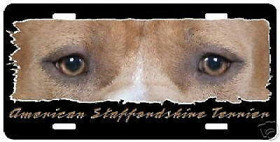 """Staffordshire Terrier    red  """" The Eyes Have It """"  License  Plate"""