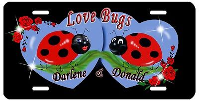 Ladybugs Love Bugs Blue Hearts Auto License Plate Personalize Any Name Or Text