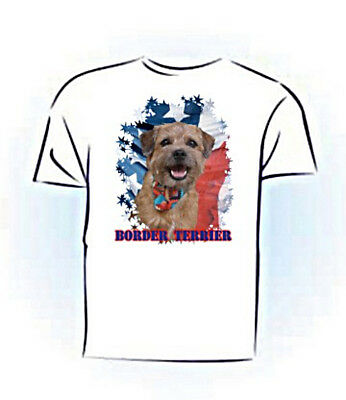 Border Terrier  PERSONALIZED   Stars & Stripes    Custom Pet T shirt