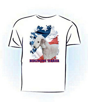 Bedlington Terrier   Stars & Stripes  Custom Pet Tshirt