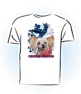 Chinese Crested  # 2  Stars & Stripes PERSONALIZED  Custom Pet T shirt