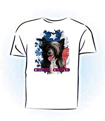Chinese Crested    puff  b & w   Stars & Stripes   PERSONALIZED  T shirt