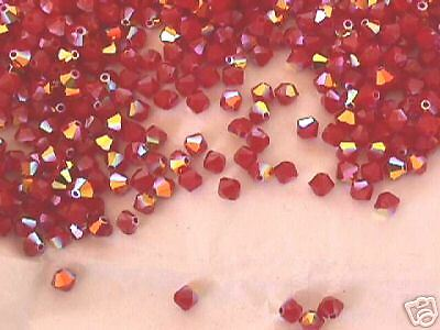 Opaque Red AB Swarovski Crystal Bicone Beads 4mm 50pc
