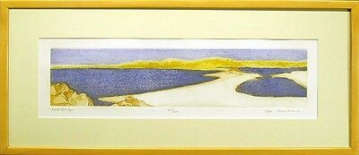 "Olga Poloukhine ""Land Bridge"" Signed Fine Art Etching 1980s framed seascape OBO"