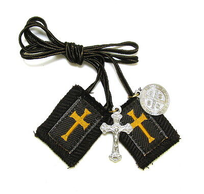 Scapular Crusader Athlete Long Lady Mt Carmel Brown 100% Wool Medal Catholic
