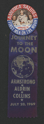 """1969 """"First Men on The Moon"""" Pinback with Ribbon"""