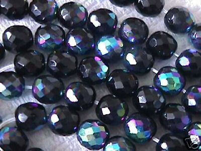 Black AB Fire Polished Crystal Czech Beads 10mm 20pc