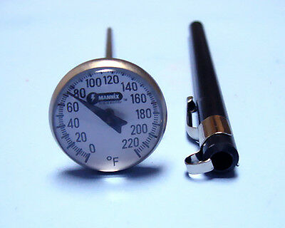 """MAGNIFIED DIAL THERMOMETER 0 to 220 F w/ 5"""" STEM"""