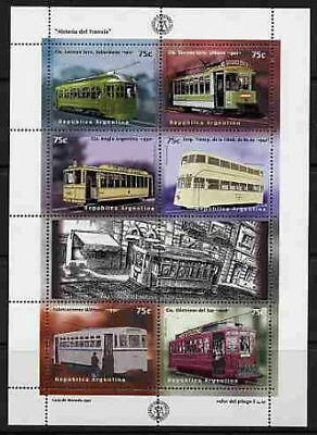 Argentina 1997 Electric Trains - Mint Complete Sheet Of 6 Stamps!