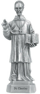 Statue St Charles 3.5 inch Pewter Silver Figurine Patron Saint Catholic Card Box