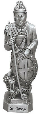 Statue St. George 3.5 inch Bethany Solid Fine Pewter Statue Boxed with Holy Card