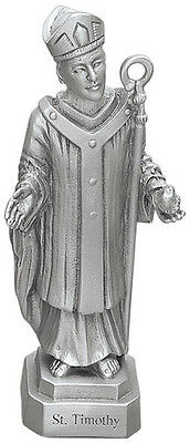 Statue St Timothy 3.5 inch Pewter Silver Figurine Patron Saint Catholic Boxed