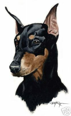 DOBERMAN PINSCHER Painting ART 11 X 14 Print Signed DJR