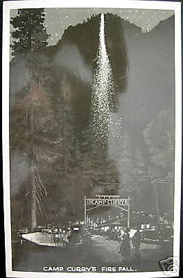 Yosemite Natl Park CA~1940s CAMP CURRY'S FIRE FALL~RPPC