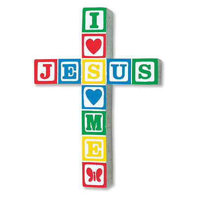 Cross Baby I Love Jesus Loves Me 9 inch Baby Blocks Primary Colors Nursery Cross