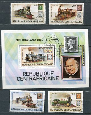 Central Africa 1979 Rowland Hill - Trains Set & Sheet!