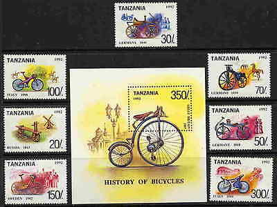 Tanzania 1992 History Of Bicycle Stamps - Mint Complete Set And Souvenir Sheet