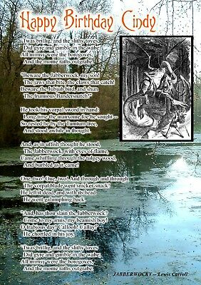 Jabberwocky Lewis Carroll Poem Happy Birthday Personalised