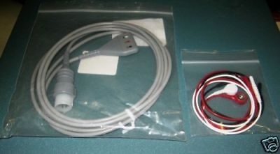 New 3 Lead HP EKG / ECG Cable With Snap Leads ~ Agilent 8 Pin Plug   Made in USA