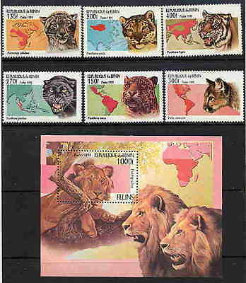 Benin 1999 Wild Cat Stamps - Mint Set And Souvenir Sheet!
