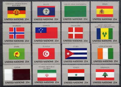 United Nations 1988 Flags Mint Set Of 16 - $9.60 Value!