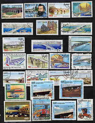 An Excellent Collection Of 25 Stamps Showing Bridges!
