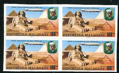Rare Malagasy 1977 Graf Zeppelin - Sphinx Stamps Imperf Block Of Four