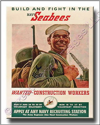 Seabees Construction Workers Canvas Print WWII 2D