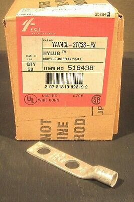 BOX of 50 BURNDY YAV4CL2TC38-FX COPPER COMPRESSION CABLE LUG 4 AWG 2 HOLE, 3/8""