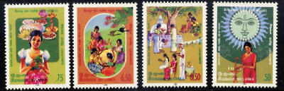 Sri Lanka 1986 Lunar New Year Traditions Mnt Set Of 4!