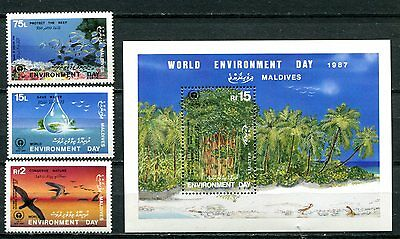 Maldives 1986 Environment - Trees - Birds - Fish Mint Set And Souvenir Sheet!