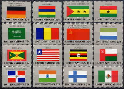 United Nations 1985 Flags Mint Set Of 16 - $8.80 Value!
