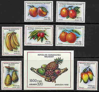 Malagasy 1992 Fruit Stamps - Mint Complete Set & Souvenir Sheet $10.70 Value!