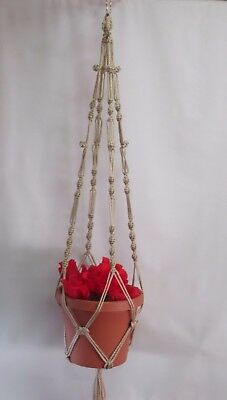Macrame Plant Hanger 40 in Button Knot  Pearl