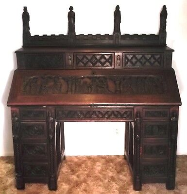 c.1650 CARVED OAK LIFE OF CHRIST HOLY BIBLE SECRETARY DESK Christian Church God