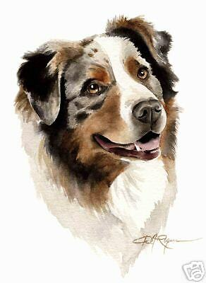 AUSTRALIAN SHEPHERD Painting DOG ART 11 X 14 LARGE DJR