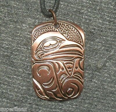 New COPPER RAVEN NECKLACE Haida Gwaii totem Symbol of Knowledge & Creativity