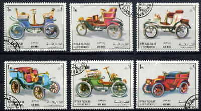 Sharjah 1972 Antique Cars Set Of Six Stamps Complete!