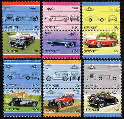 St. Vincent 1986 Classic Car Stamps - Mint Complete Set