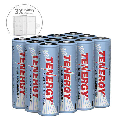 Combo 12pcs Tenergy AA 2600mAh High Capacity NiMH Rechargeable Batteries+3 cases