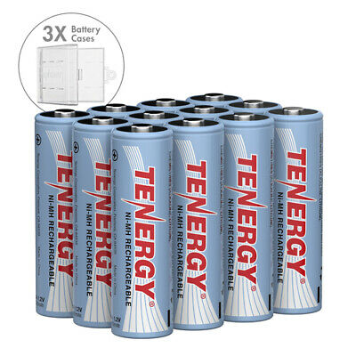 Tenergy Combo 12PCS AA 2600mAh High Capacity NiMH Rechargeable Batteries+3 Cases