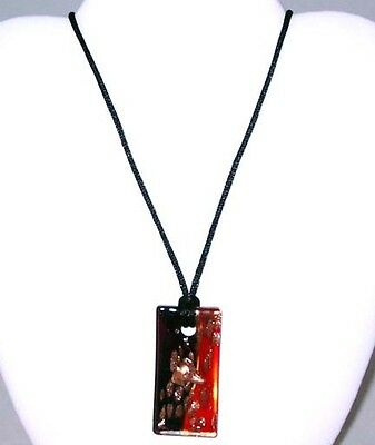 Greyhound Dog Jewelry Pendant Necklace Red Blk Glass