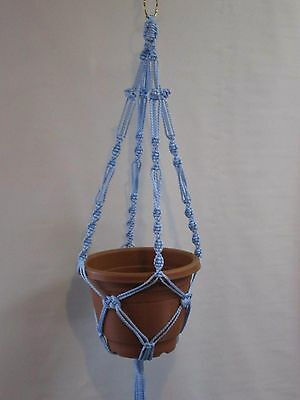MACRAME PLANT HANGER 28in Button Knot **SKY BLUE**