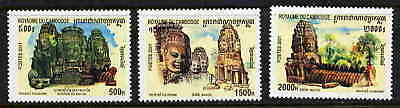 Cambodia 2001 Bayon Statues Mint Complete Set Of Three!